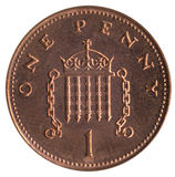 British 1p piece. British currency - 1p piece royalty free stock images