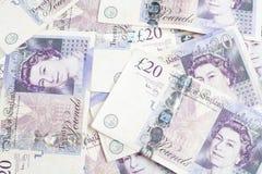 British 20 pund kant Arkivbild