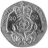 British 20p piece. British currency - 20p piece Stock Image