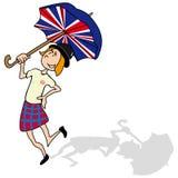 So british. English girl is dancing with a british umbrella Stock Photos