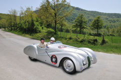 British actor Rowan Atkinson drives 1939 BMW 328 royalty free stock image