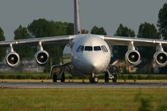 British Aerospace 146. A BAe146 is lining up on the runway Stock Photos