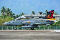 British Aerospace Hawk 200 at the airport. Langkawi, Malaysia - Mar 31, 2019. British Aerospace Hawk 200 of Royal Malaysian Air Force TUDM M40-32 taxiing on royalty free stock images