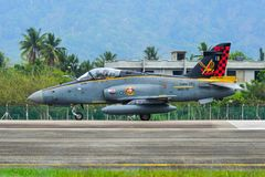 British Aerospace Hawk 200 at the airport. Langkawi, Malaysia - Mar 31, 2019. British Aerospace Hawk 200 of Royal Malaysian Air Force TUDM M40-32 taxiing on royalty free stock image