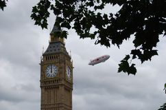 British aerostat over London near the Big Ben stock photo