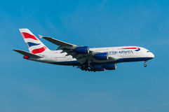 British Airways Aerobus A380 Obraz Stock