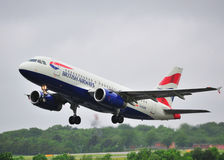 British Airways Airbus A319. Taking off from Manchester Airport royalty free stock photo