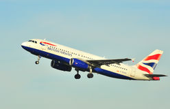 British Airways airbus A320. Taking off from Manchester airport stock image