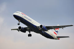British Airways Airbus A321. Taking off from Manchester Airport royalty free stock photography