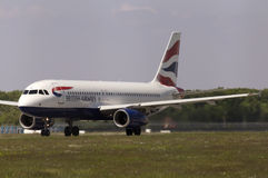 British Airways Airbus A320-232 aircraft preparing for take-off from the runway Royalty Free Stock Images