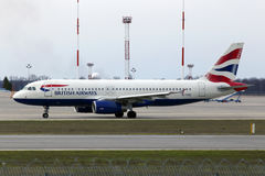 British Airways Airbus A320-200 A320-200 aircraft running on the runway Royalty Free Stock Images