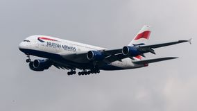 British Airways Airbus A380 arriving at Heathrow Airport. London in March 2018 Royalty Free Stock Photography