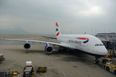 British Airways Airbus 380-800 en Hong Kong Airport Fotos de archivo libres de regalías