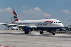 British Airways Airbus A320. Taxiing at Prague airport Stock Image
