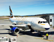 British Airways,  Aircraft  Boeing Airport. British Airways, Aircraft Boeing in Oslo International  Airport, Norway Royalty Free Stock Photo