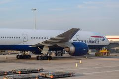 British Airways Aircraft Parked at London Heathrow Airport in Summer stock image