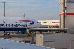 British Airways Aircraft Parked at London Heathrow Airport in Summer stock photography