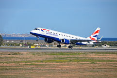British Airways. The British Airways aircraft touching down at Spains Alicante airport royalty free stock photo