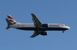 British Airways Airline Boeing. Photographed shortly after takeoff from airport Faro - Portugal Royalty Free Stock Photos
