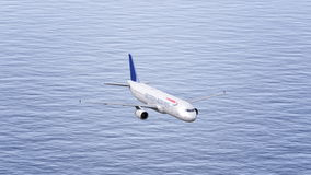 British Airways airplane flying over the sea. Conceptual editorial 3D rendering Royalty Free Stock Photo
