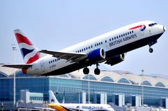 British airways with alicante terminal airport view at background Stock Photo