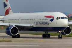 British Airways Boeing 767 Plane. Taxiing royalty free stock images