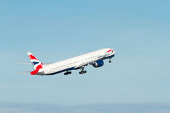 British Airways Boeing 777 taking off stock photography