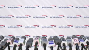 BRITISH AIRWAYS company press conference, press wall with logo and mics, conceptual editorial 3D rendering. Company press conference, conceptual editorial 3D vector illustration