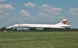 British Airways Concorde Supersonic trafikflygplan, når att ha landat på Juli 19, 1997 arkivfoton