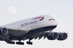 British Airways A380 e lua Foto de Stock Royalty Free