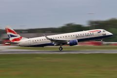 British Airways Embraer Royaltyfria Bilder