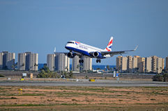 British Airways - Aircraft Landing At Airport Passenger Plane Charter Flight Royalty Free Stock Photo