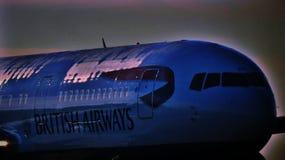 British Airways 767 i vinter Royaltyfria Bilder