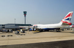 British Airways Jumbo at Heathrow Airport, London Royalty Free Stock Photos