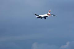 British Airways 777 landa SFO Fotografering för Bildbyråer