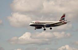 British Airways Landing. Airbus A319 from British Airways landing in Copenhagen Airport in Denmark Royalty Free Stock Image
