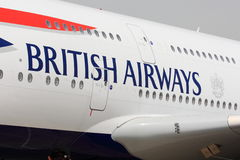 British Airways letters on aircraft Stock Image