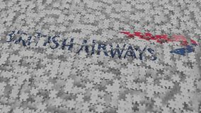 BRITISH AIRWAYS logo composing with puzzle pieces, editorial 3D rendering. Company logo made of puzzle pieces, conceptual editorial 3D stock illustration