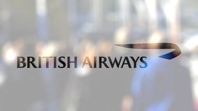 British Airways logo on a glass against blurred crowd on the steet. Editorial 3D rendering. British Airways logo on a glass against blurred crowd on the steet stock illustration