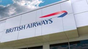 British Airways logo on the modern building facade. Editorial 3D rendering. British Airways logo on the modern building facade. Editorial 3D stock illustration