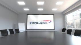 British Airways logo na ekranie w pokoju konferencyjnym Redakcyjny 3D rendering ilustracja wektor