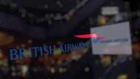 British Airways logo na szkle przeciw zamazanemu centrum biznesu Redakcyjny 3D rendering ilustracja wektor