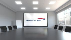 British Airways logo on the screen in a meeting room. Editorial 3D rendering. British Airways logo on the screen in a meeting room. Editorial 3D vector illustration