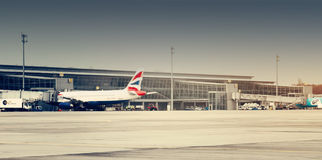 British Airways Plane in the Amsterdam Airport Schiphol Royalty Free Stock Photos