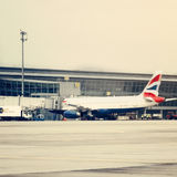 British Airways Plane in the Amsterdam Airport Schiphol Stock Photography