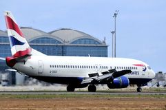 British airways plane landing in piste airport Stock Photography