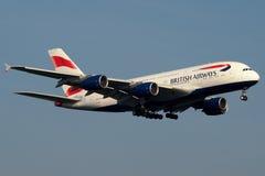 British Airways Super Jumbo. The first and brand new British Airways Airbus A380, operating a trainning flight Stock Photos