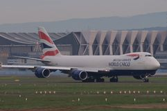 British Airways World Cargo. Started operating the new Boeing 747 generation, the 8F. This Jumbo series highlights are the increased length, redesigned wings Royalty Free Stock Photography