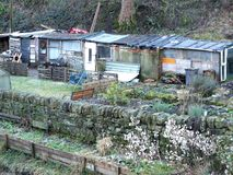 British allotments with typical improvised wooden sheds. Made of recycled materials in winter Stock Photography