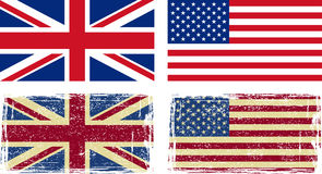 British and American flags. Vector illustration Stock Photos